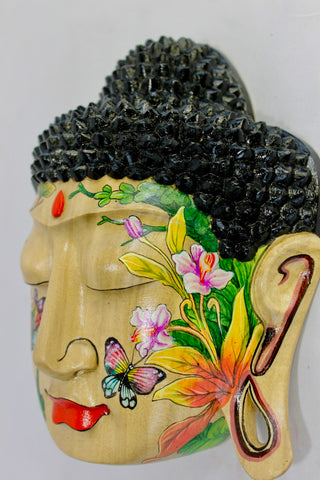 Peaceful Buddha Mask Wall Sculpture Balinese art - Acadia World Traders