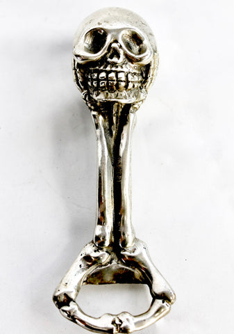 Pirate Skull & Bones Bottle Opener Silvered Bronze