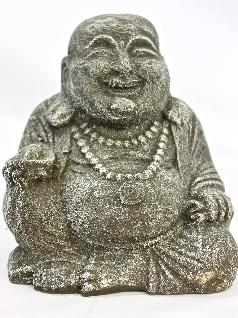 Happy Good Fortune Buddha Garden Statue handmade cast lava stone - Acadia World Traders