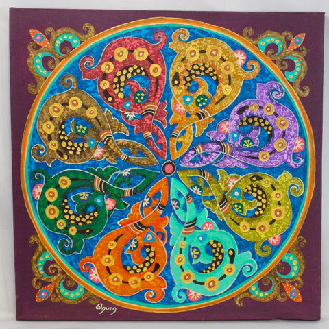 Abstract Mandala Wall Art Painting Sacred Geometry Purple