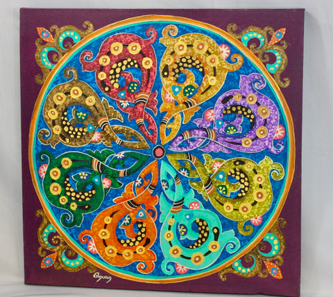 Abstract Mandala Wall Art Painting Sacred Geometry Purple - Acadia World Traders