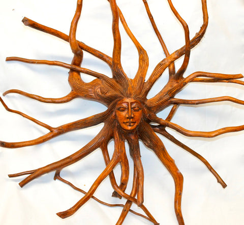 Nature Spirit Sun Goddess Tree Root Spirit Wood Carving