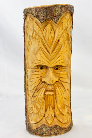 Tree Spirit Green Man Mask Rustic wall art sculpture hand carved Wood