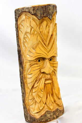 Tree Spirit Green Man Mask Rustic wall art sculpture hand carved Wood - Acadia World Traders
