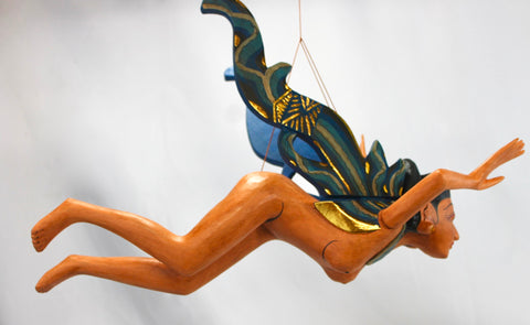 Flying Dewi Sri Nude Goddess Mobile Demon Chaser Carved Wood Balinese art Teal - Acadia World Traders