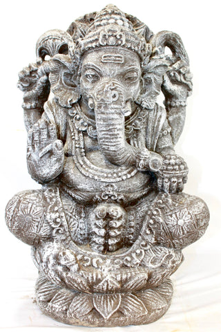 Lotus Pose Ganesha Garden Statue Cast Lava stone composite Elephant God Bali art - Acadia World Traders