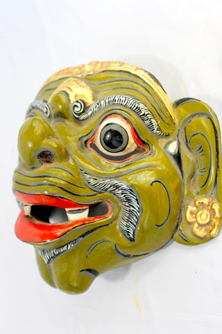 Balinese Wayang WONG Mask Topeng Hand Carved Polychrome wood - Acadia World Traders