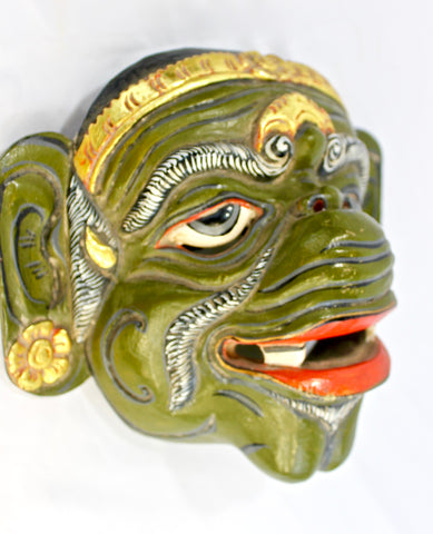 Balinese Wayang WONG Dance Mask Topeng Carved Polychrome wood - Acadia World Traders