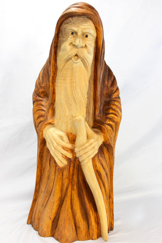 Wizard Sorcerer Magician sculpture hand carved wood Statue