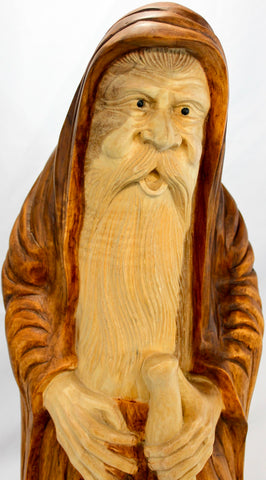 Wizard Sorcerer Magician sculpture hand carved wood Statue - Acadia World Traders