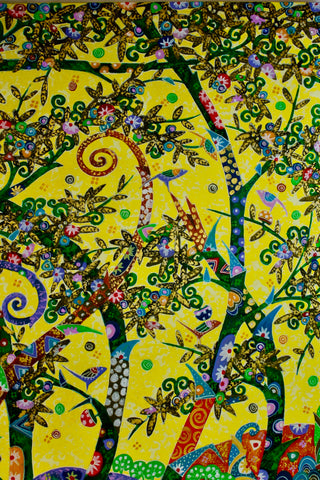 Vibrant Bamboo Forest Painting acrylic on Canvas signed Agung Bali Wall Art - Acadia World Traders