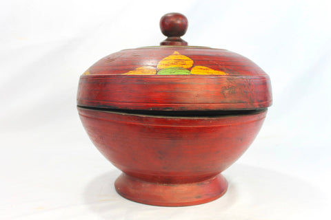 Balinese Dulang Offering Fruit Bowl w/ cover Bali Folk Art