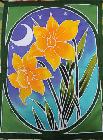 Lotus Garden Flowers Garden Bali Batik Flag banner - Acadia World Traders