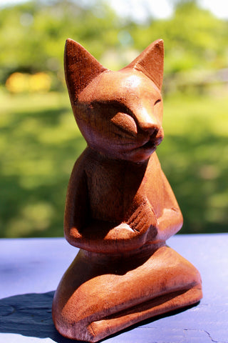 Meditating Buddha Yoga Cat Carved Wood Statue - Acadia World Traders