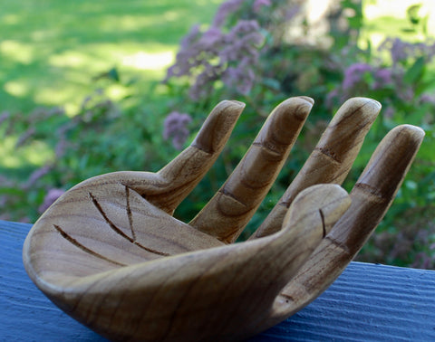 BUDDHA Mudra HANDS Statue Carved Wood Sculpture 10""