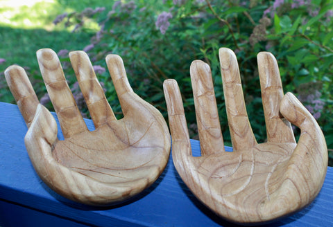 "BUDDHA Mudra HANDS Statue Carved Wood Sculpture 10"" - Acadia World Traders"