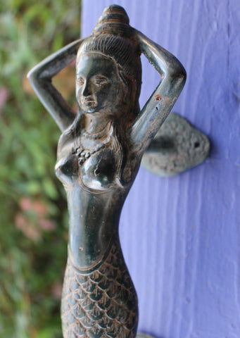 Balinese Mermaid Sea Goddess Verdigris Bronze Door Handle - Acadia World Traders