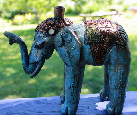Infinite Blue Elephant Statue Figure Hand Carved Wood Carving Balinese