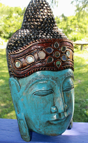 "Infinite Blue Buddha Mask Hand Carved Wood Balinese Wall art Handmade 19"" - Acadia World Traders"