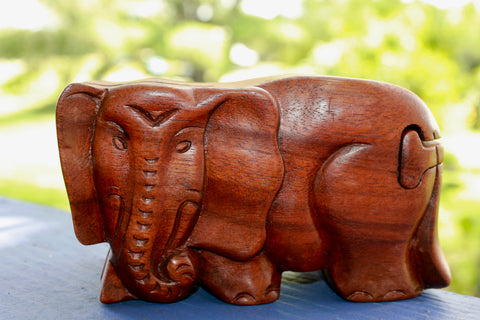 Elephant Secret puzzle Box Stash Trinket carved suar wood