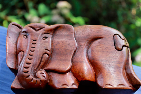 Elephant Secret puzzle Box Stash Trinket carved suar wood - Acadia World Traders