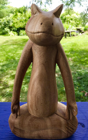 Buddha Zen Frog Yoga Statue Lotus Pose Wood carving meditating Balinese Art - Acadia World Traders