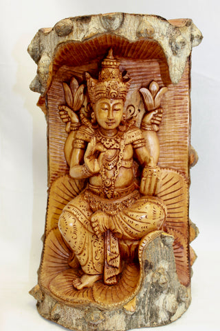 Vishnu on Lotus base Statue Hand Carved wood Bali Art