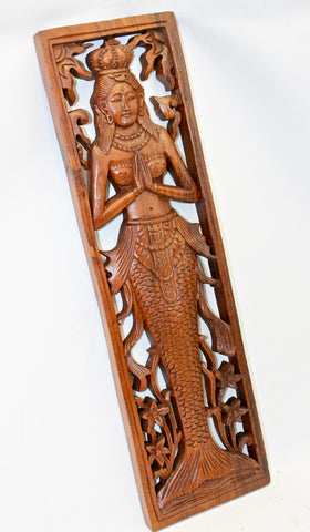 Nyi Blorong Mermaid Panel hand carved Balinese wood