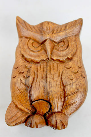 Wise Owl Secret Puzzle Trinket Box Hand Carved Wood