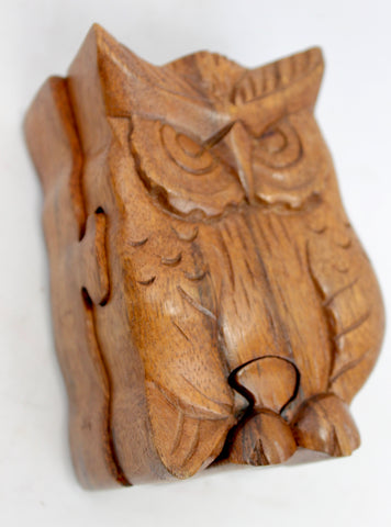 Owl hand carved wood puzzle box