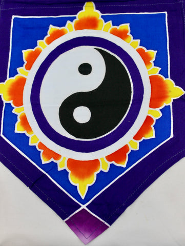 World Om Peace Yin Yang Love Sun Moon Bali Batik Prayer Flag String - Acadia World Traders