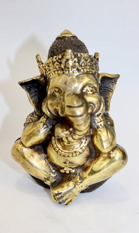 "Bronze Ganesha Thinking Bali Art Hand cast 4.5"" - Acadia World Traders"