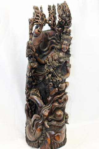Balinese Eclipse Moon Goddess sculpture Kala Rau Demon