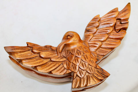 Flying eagle carved wood box
