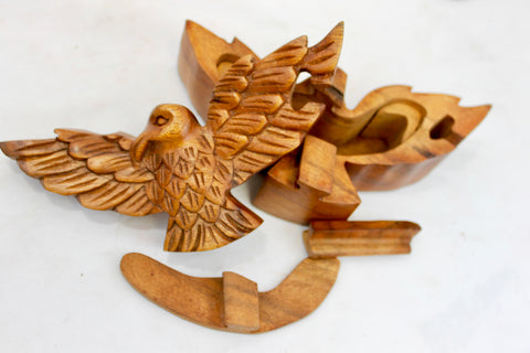 Soaring Eagle Secret Puzzle Trinket Box Hand Carved Wood - Acadia World Traders