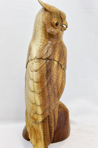 Wise Owl Perching Statue Wood Carving Rustic Hand Carved Sculpture Bali art - Acadia World Traders