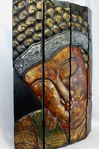 Enlightened Buddha Panel Folding Screen Wall Art Hand Carved Wood - Acadia World Traders