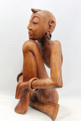 Yoga Women Mudra abstract Balinese Wood Carving Sculpture - Acadia World Traders