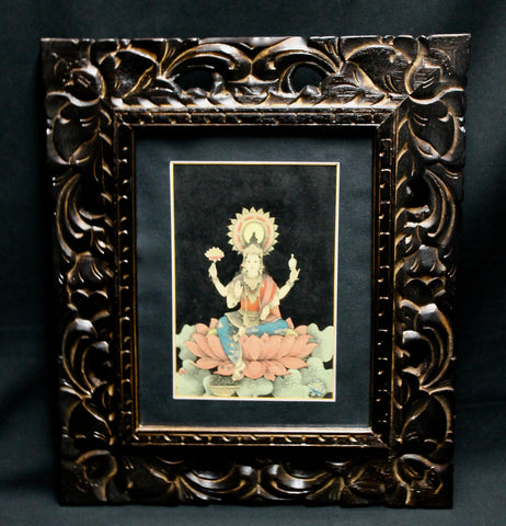 Meditating Lakshmi Goddess upon lotus Balinese Watercolor Painting - Acadia World Traders
