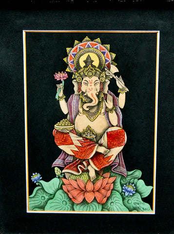 Meditating Ganapati Ganesha Remover of Obstacles Balinese Watercolor Painting - Acadia World Traders