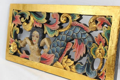 Balinese Mermaid Goddess Panel Hand Carved Wood Architectural art - Acadia World Traders