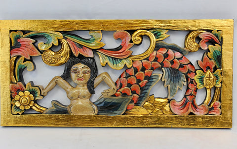 Balinese Mermaid Goddess Panel Hand Carved Wood Architectural - Acadia World Traders