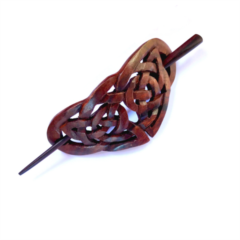 Wooden Hair Pick Stick Barrette Retro Hair-clip Bali Hand Carved Wood Jewelry
