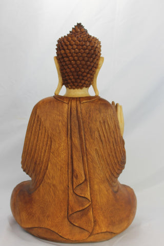Teaching Buddha Statue Vitarka Mudra Hand Carved Wood Balinese Art sculpture