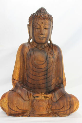 Meditating Buddha Dhyana Mudra Statue Sculpture wood carving Balinese Art 17""