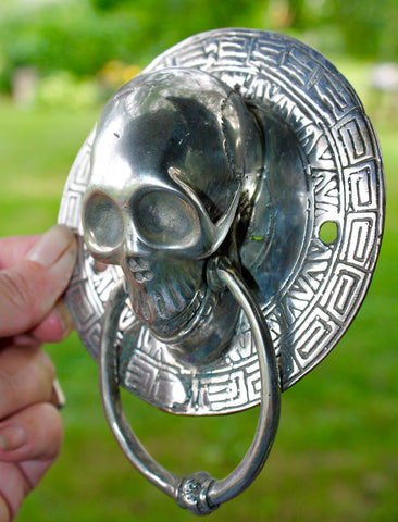 Vintage Bronze Gothic Skull Door Knocker Handle lost wax Cast Balinese Art