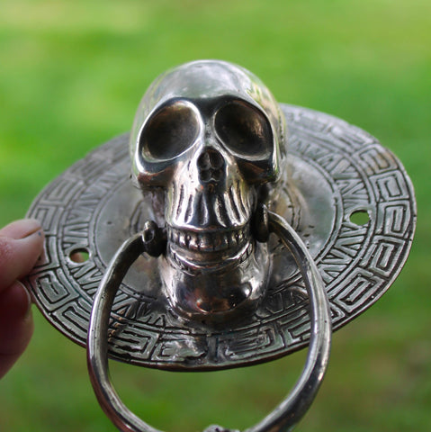 Vintage Bronze Gothic Skull Door Knocker Handle lost wax Cast Balinese Art - Acadia World Traders