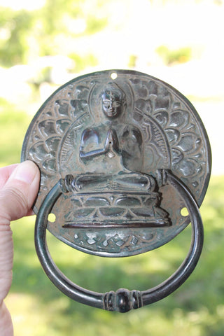 Buddha Lotus Pose Door Knocker Handle knob Cast Bronze Namaskara Balinese Art