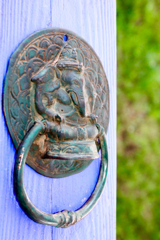 Ganesh Lord of Success Door Knocker Handle Pull Cast Verdigris Bronze Bali Art
