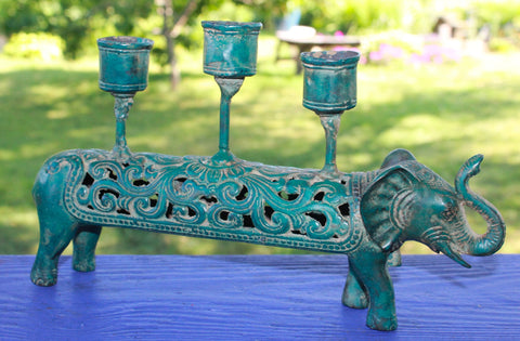Bronze Elongated Elephant Candelabra Candlestick Lost wax cast Balinese Art